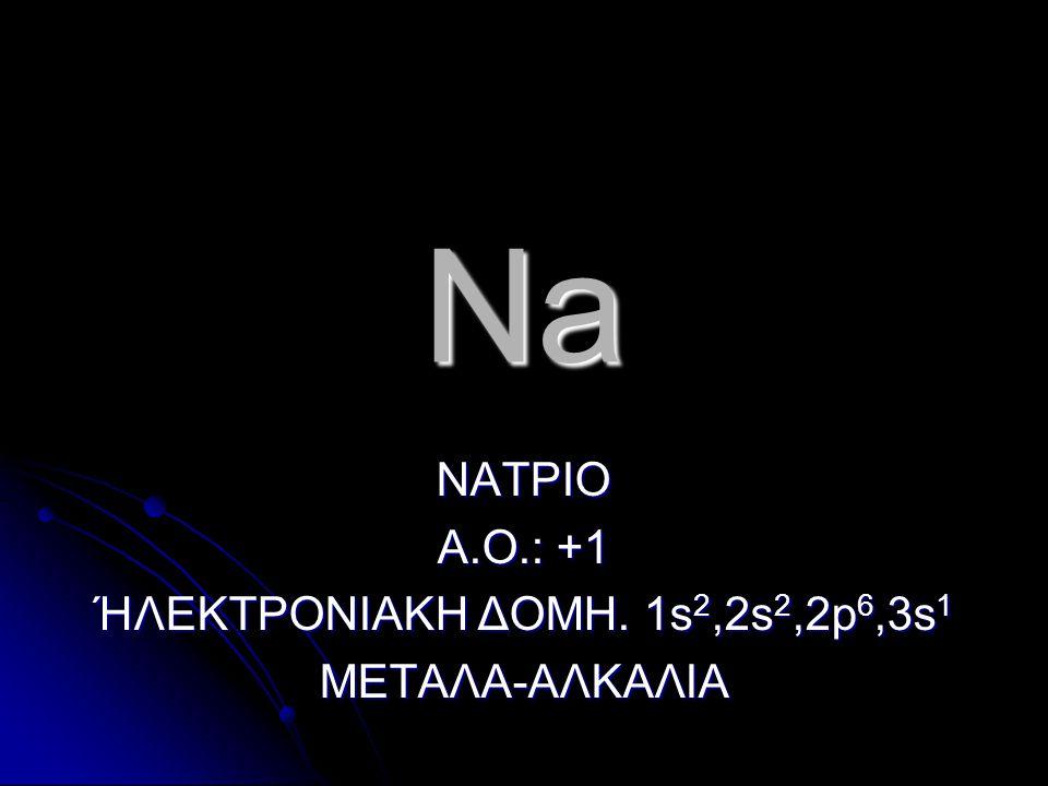 ΝΑΤΡΙΟ Α.Ο.: +1 ΉΛΕΚΤΡΟΝΙΑΚΗ ΔΟΜΗ. 1s2,2s2,2p6,3s1 ΜΕΤΑΛΑ-ΑΛΚΑΛΙΑ