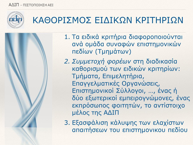 ΚΑΘΟΡΙΣΜΟΣ ΕΙΔΙΚΩΝ ΚΡΙΤΗΡΙΩΝ