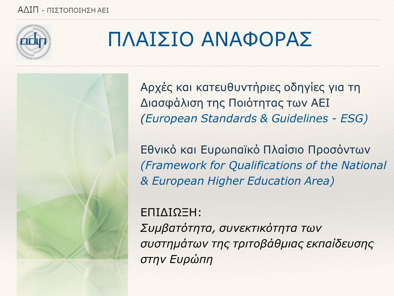 ΠΛΑΙΣΙΟ ΑΝΑΦΟΡΑΣ Αρχές και κατευθυντήριες οδηγίες για τη Διασφάλιση της Ποιότητας των ΑΕΙ (European Standards & Guidelines - ESG)