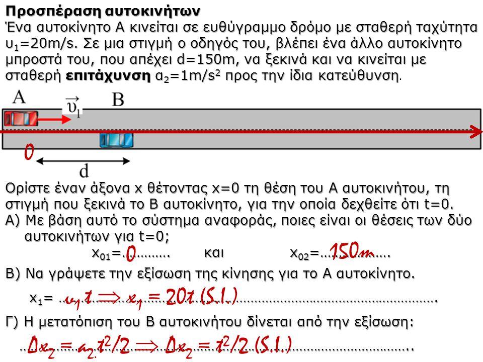 150m υ1 t  x1 = 20t (S.I.) Δx2 = a2.t2/2  Δx2 = t2/2 (S.I.)