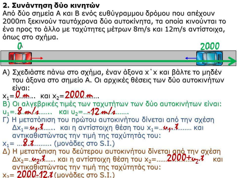 2000 0 m 2000 m 8 m/s -12 m/s υ1.t υ1. t 8.t υ2.t 2000+υ2.t 2000-12.t