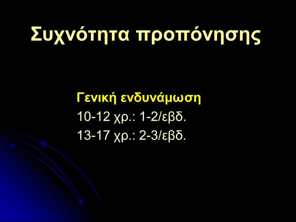 Γενική ενδυνάμωση 10-12 χρ.: 1-2/εβδ. 13-17 χρ.: 2-3/εβδ.