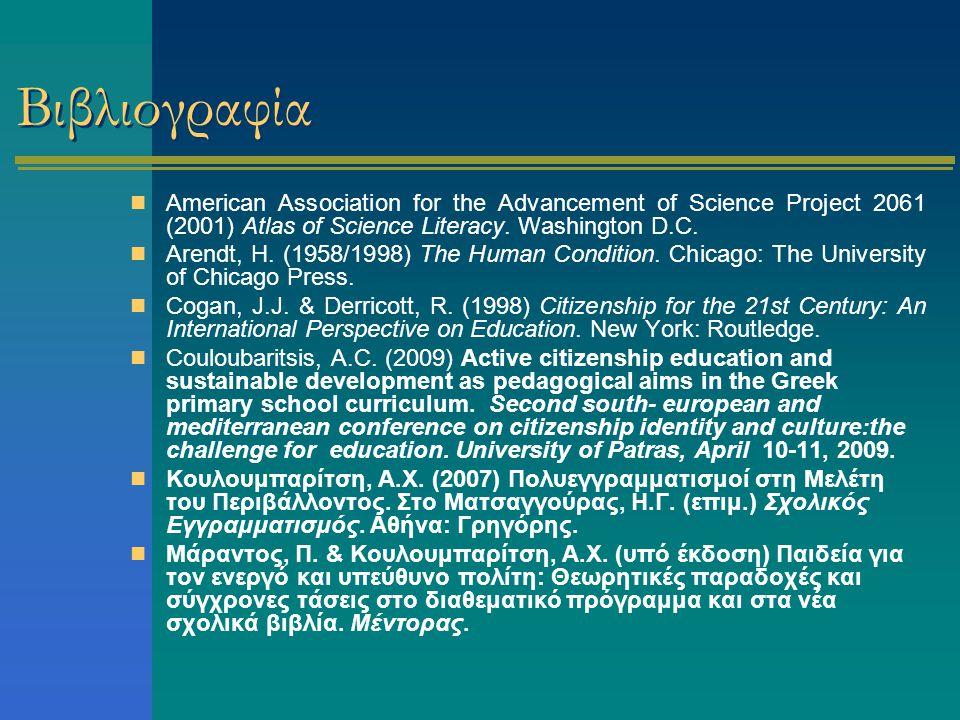 Βιβλιογραφία American Association for the Advancement of Science Project 2061 (2001) Atlas of Science Literacy. Washington D.C.