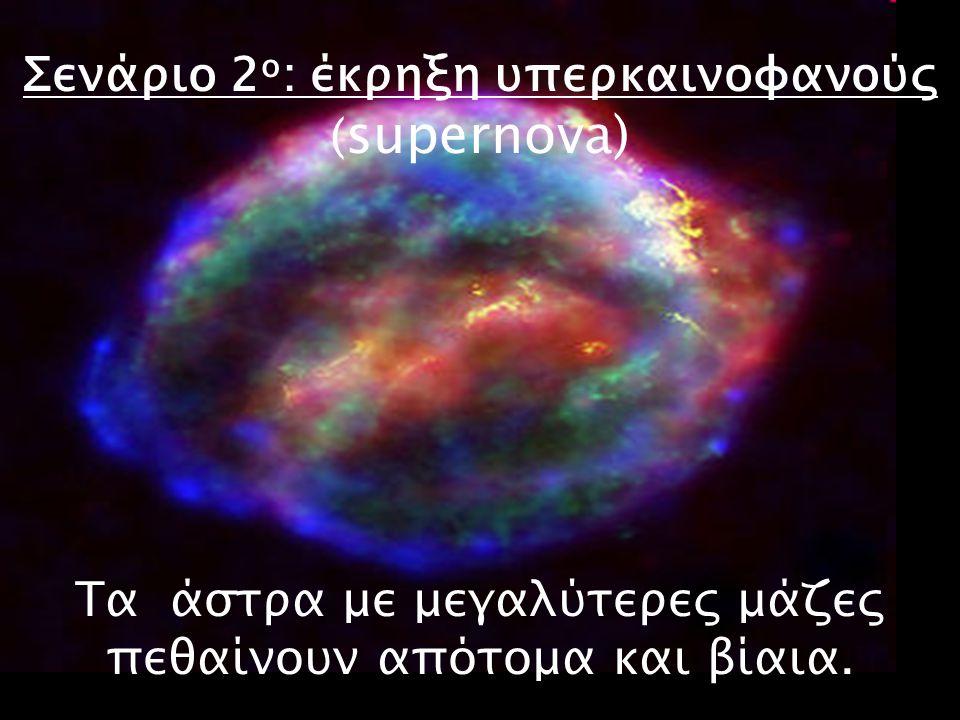 Σενάριο 2ο: έκρηξη υπερκαινοφανούς (supernova) Τα άστρα με μεγαλύτερες μάζες πεθαίνουν απότομα και βίαια.
