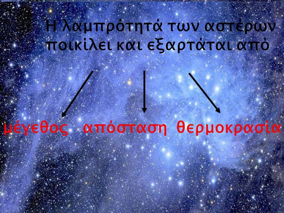 Η λαμπρότητά των αστέρων ποικίλει και εξαρτάται από