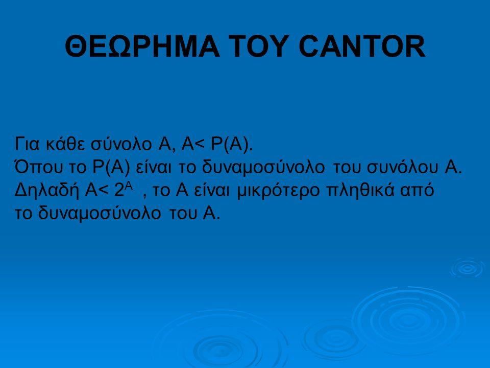 ΘΕΩΡΗΜΑ ΤΟΥ CANTOR Για κάθε σύνολο Α, Α< P(A).