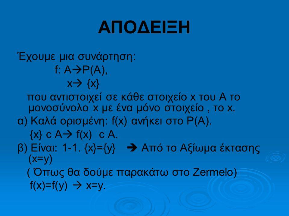 ΑΠΟΔΕΙΞΗ Έχουμε μια συνάρτηση: f: ΑΡ(Α), x {x}
