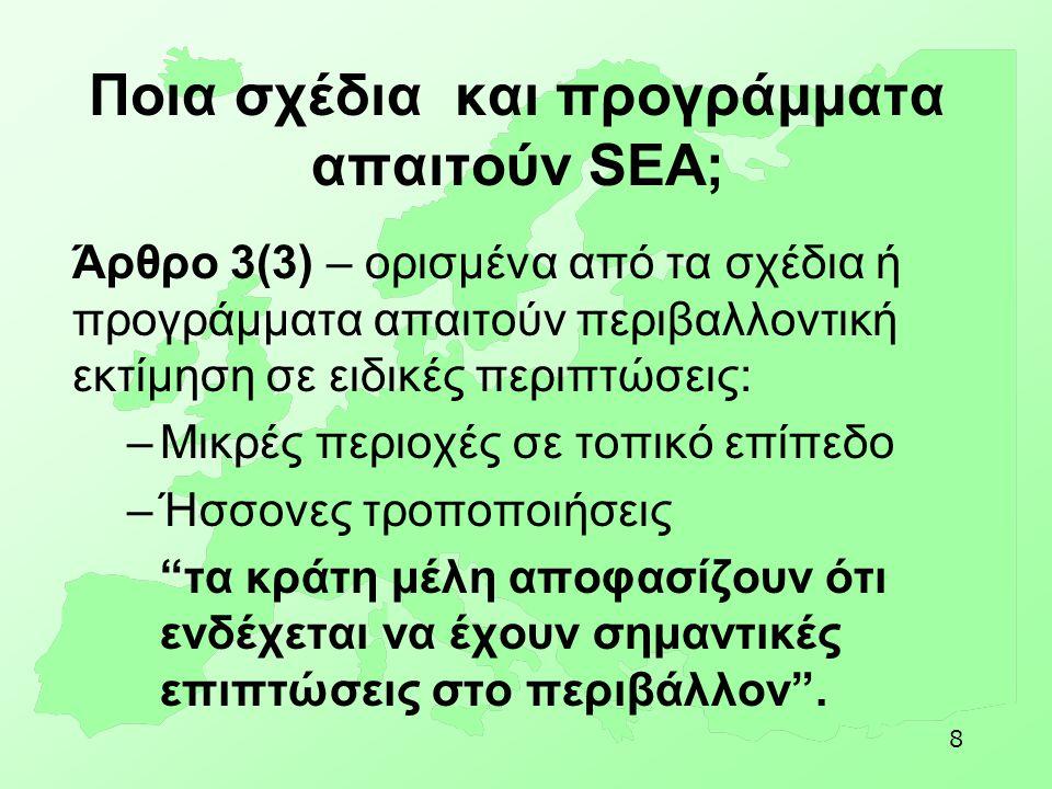 Ποια σχέδια και προγράμματα απαιτούν SEA;