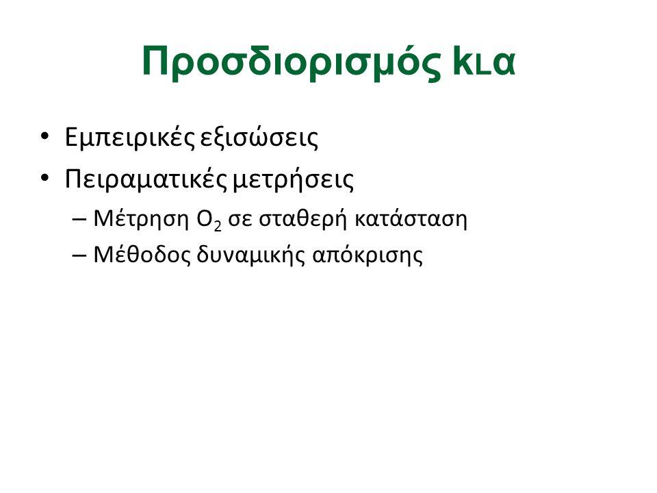 Προσδιορισμός kLα Εμπειρικές εξισώσεις Πειραματικές μετρήσεις