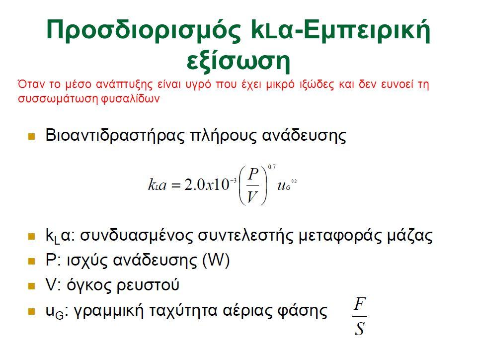 Προσδιορισμός kLα-Εμπειρική εξίσωση