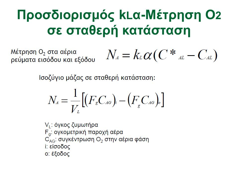 Προσδιορισμός kLα-Mέτρηση Ο2 σε σταθερή κατάσταση