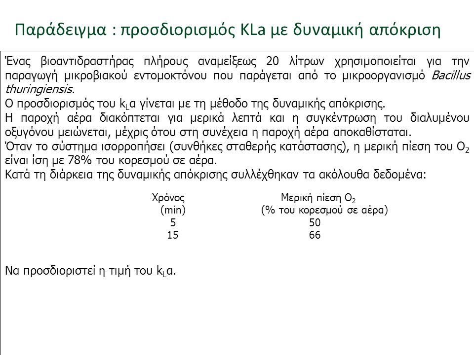 Παράδειγμα : προσδιορισμός KLa με δυναμική απόκριση