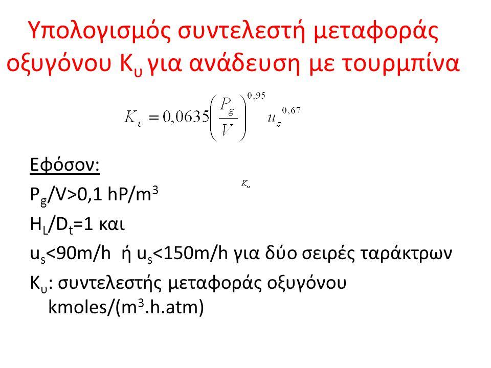 Υπολογισμός συντελεστή μεταφοράς οξυγόνου Κυ για ανάδευση με τουρμπίνα