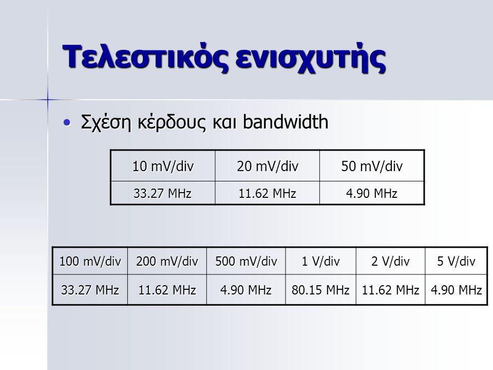 Τελεστικός ενισχυτής Σχέση κέρδους και bandwidth 10 mV/div 20 mV/div