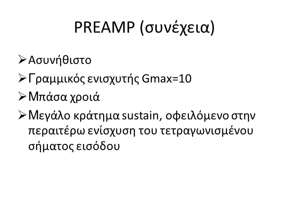 PREAMP (συνέχεια) Ασυνήθιστο Γραμμικός ενισχυτής Gmax=10 Μπάσα χροιά