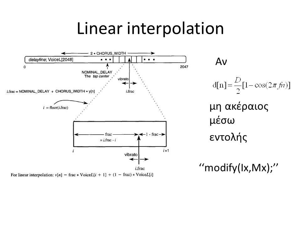 Linear interpolation Aν μη ακέραιος μέσω εντολής ''modify(Ιx,Mx);''