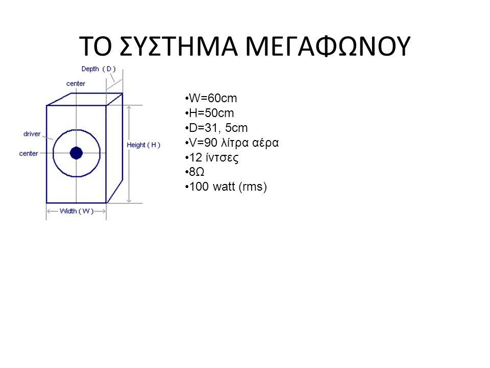 ΤΟ ΣΥΣΤΗΜΑ ΜΕΓΑΦΩΝΟΥ W=60cm H=50cm D=31, 5cm V=90 λίτρα αέρα 12 ίντσες