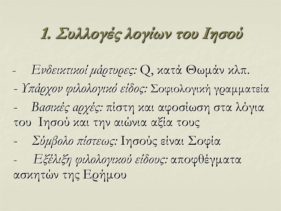 1. Συλλογές λογίων του Ιησού