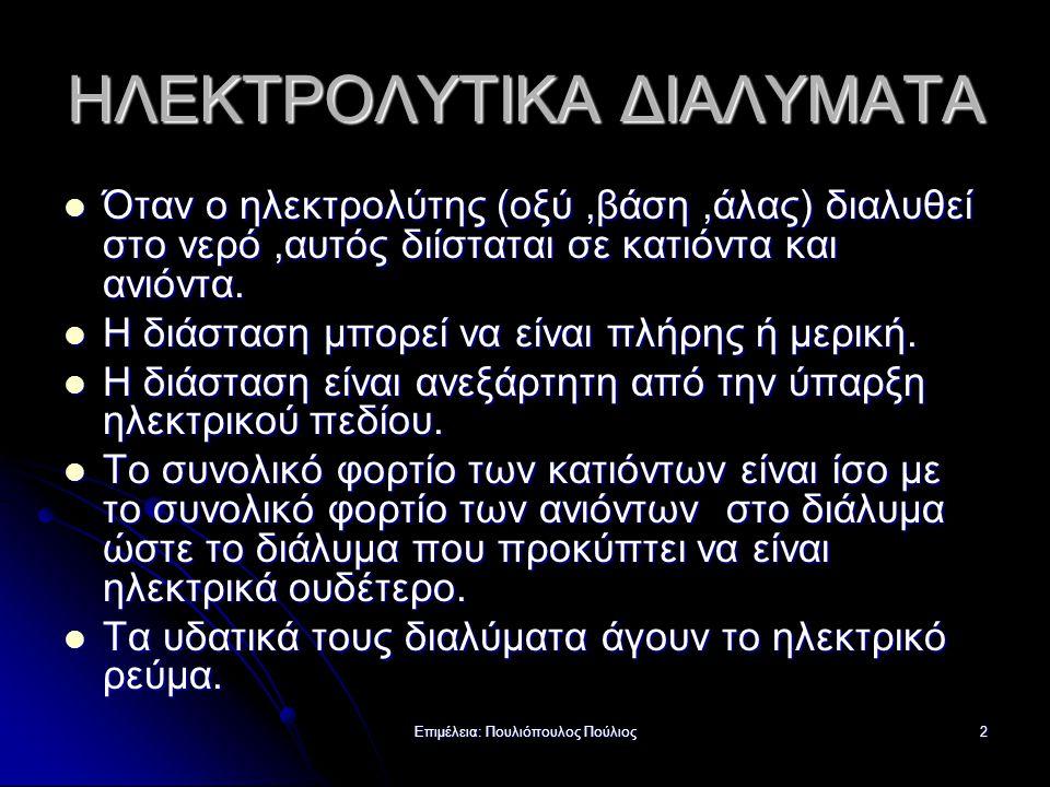 ΗΛΕΚΤΡΟΛΥΤΙΚΑ ΔΙΑΛΥΜΑΤΑ