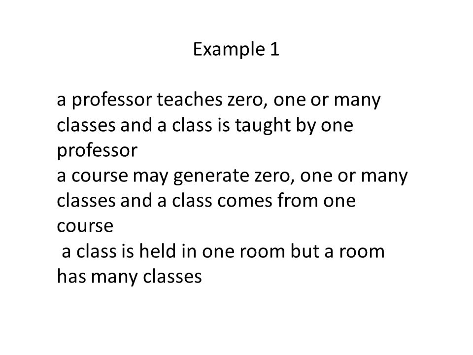 Example 1 a professor teaches zero, one or many classes and a class is taught by one professor.