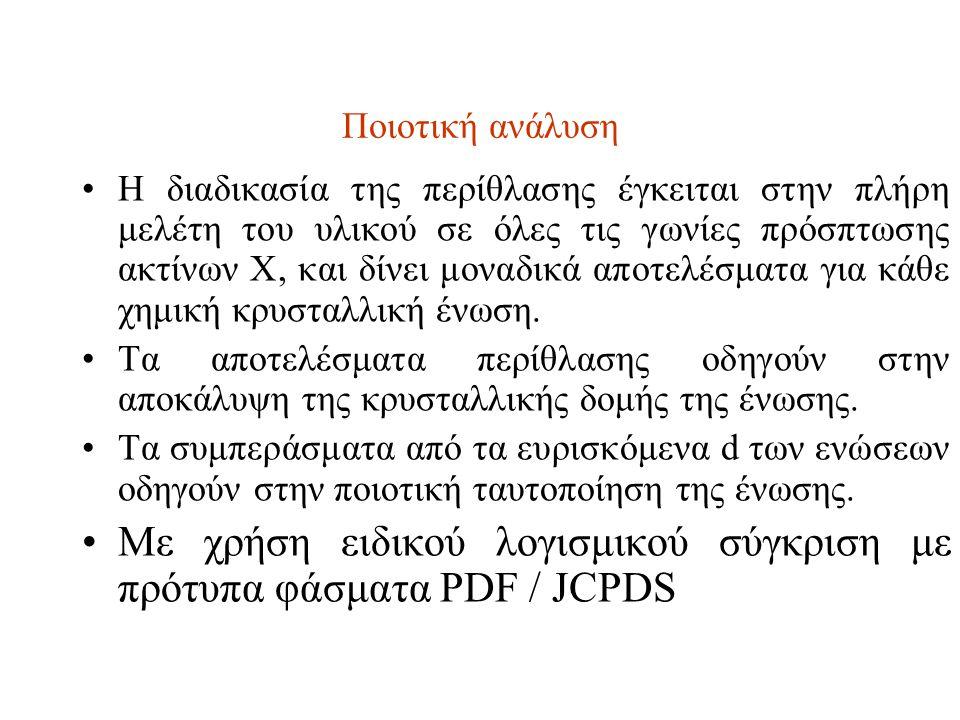 Με χρήση ειδικού λογισμικού σύγκριση με πρότυπα φάσματα PDF / JCPDS