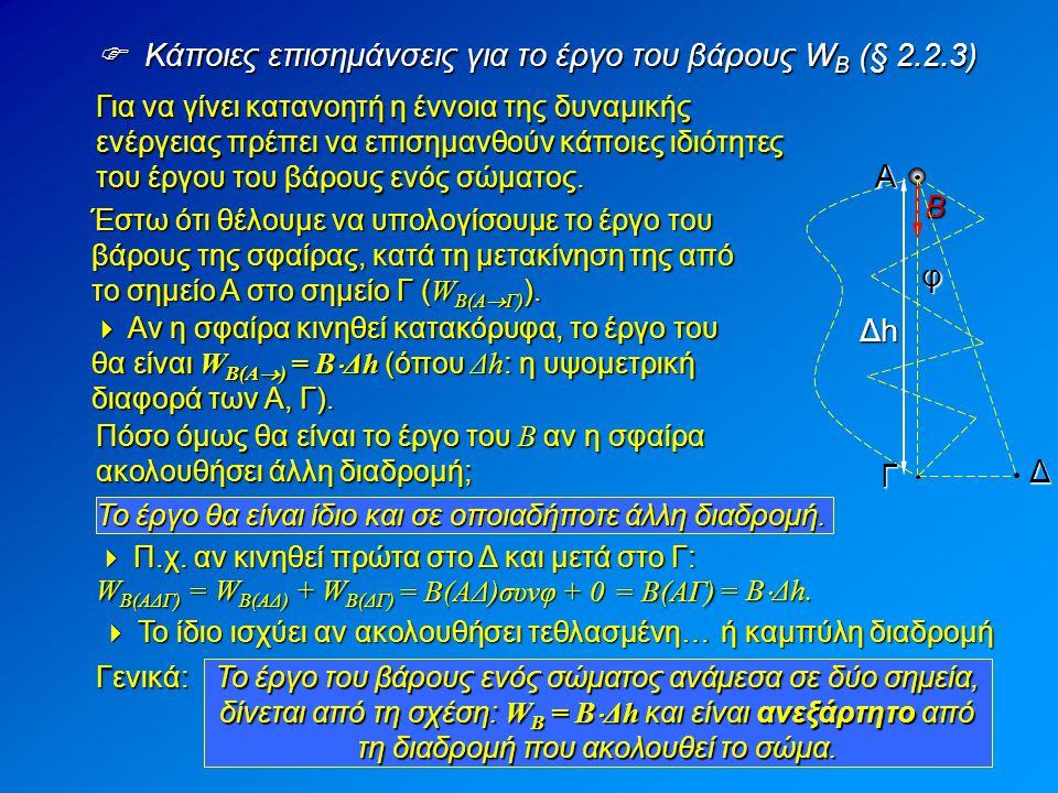  Κάποιες επισημάνσεις για το έργο του βάρους WB (§ 2.2.3)