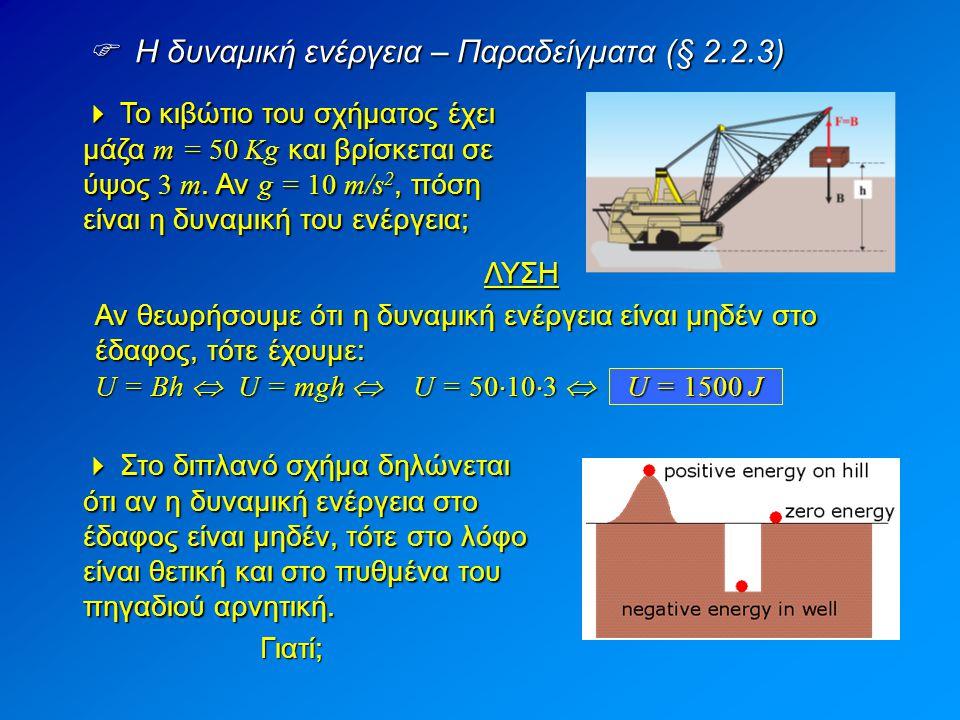  Η δυναμική ενέργεια – Παραδείγματα (§ 2.2.3)
