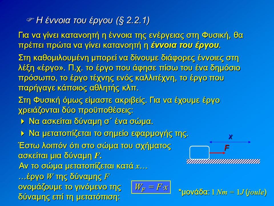  Η έννοια του έργου (§ 2.2.1) WF = Fx