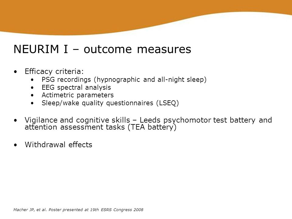 NEURIM I – outcome measures