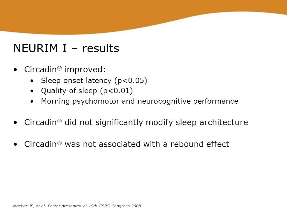NEURIM I – results Circadin® improved: