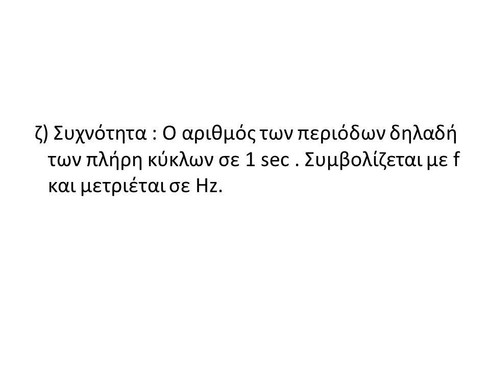 ζ) Συχνότητα : Ο αριθμός των περιόδων δηλαδή των πλήρη κύκλων σε 1 sec