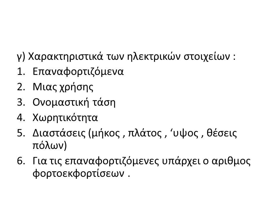 γ) Χαρακτηριστικά των ηλεκτρικών στοιχείων :