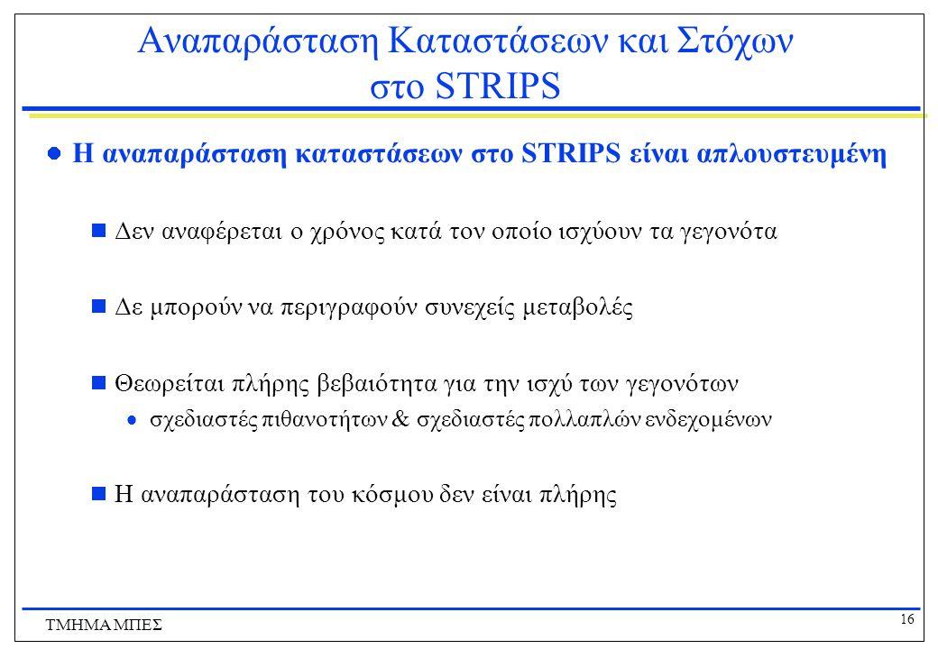 Αναπαράσταση Καταστάσεων και Στόχων στο STRIPS