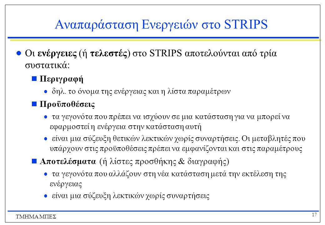 Αναπαράσταση Ενεργειών στο STRIPS