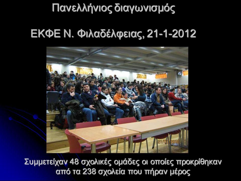 Πανελλήνιος διαγωνισμός ΕΚΦΕ Ν. Φιλαδέλφειας, 21-1-2012