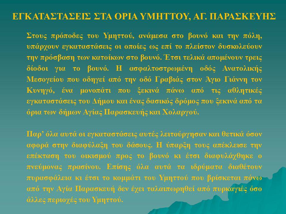 ΕΓΚΑΤΑΣΤΑΣΕΙΣ ΣΤΑ ΟΡΙΑ ΥΜΗΤΤΟΥ, ΑΓ. ΠΑΡΑΣΚΕΥΗΣ