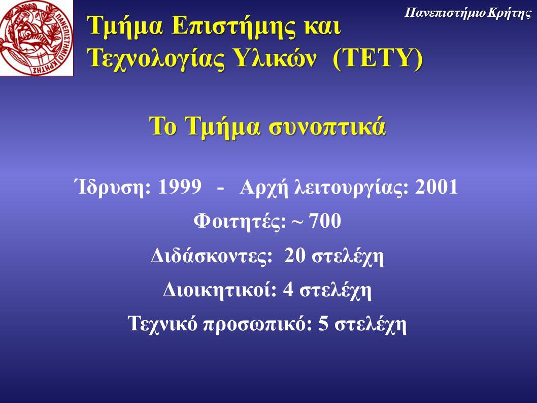 Ίδρυση: 1999 - Αρχή λειτουργίας: 2001 Τεχνικό προσωπικό: 5 στελέχη