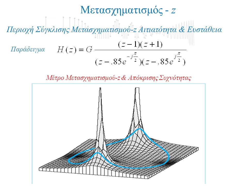 Μετασχηματισμός - z Περιοχή Σύγκλισης Μετασχηματισμού-z Αιτιατότητα & Ευστάθεια.