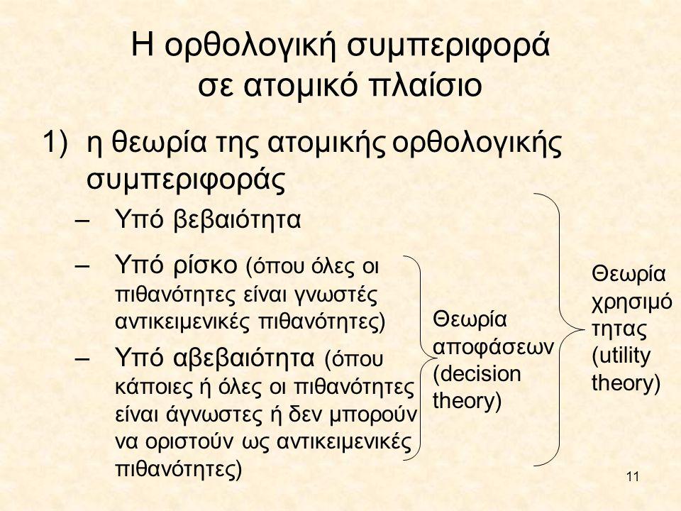 Η ορθολογική συμπεριφορά σε ατομικό πλαίσιο