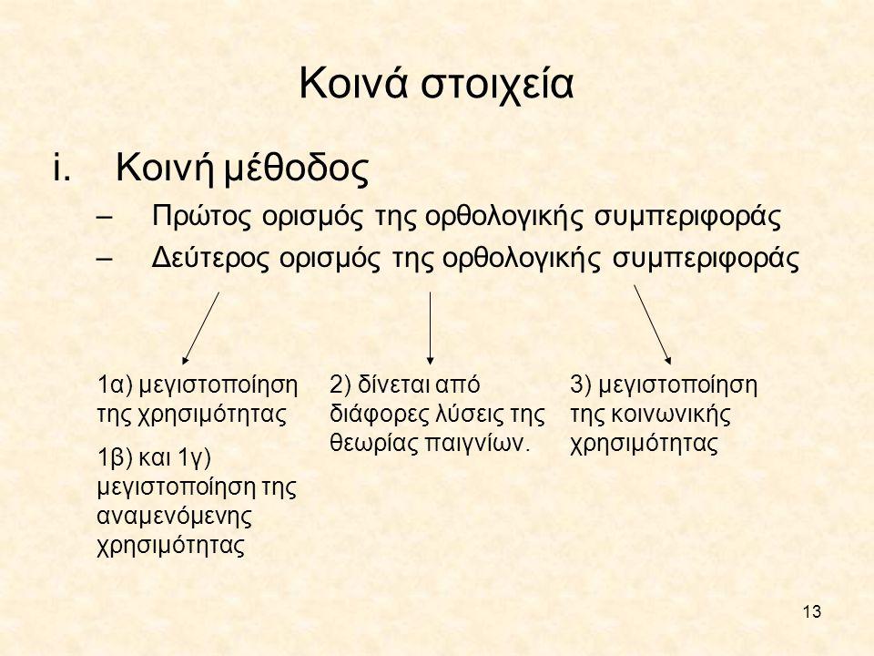 Κοινά στοιχεία Κοινή μέθοδος