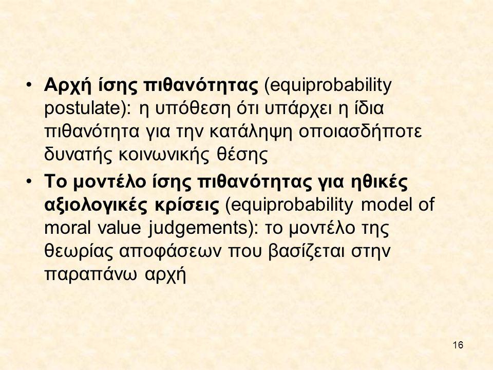 Αρχή ίσης πιθανότητας (equiprobability postulate): η υπόθεση ότι υπάρχει η ίδια πιθανότητα για την κατάληψη οποιασδήποτε δυνατής κοινωνικής θέσης