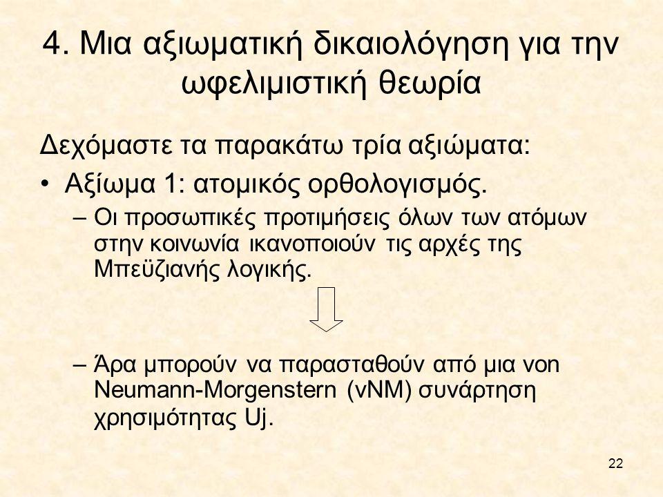 4. Μια αξιωματική δικαιολόγηση για την ωφελιμιστική θεωρία