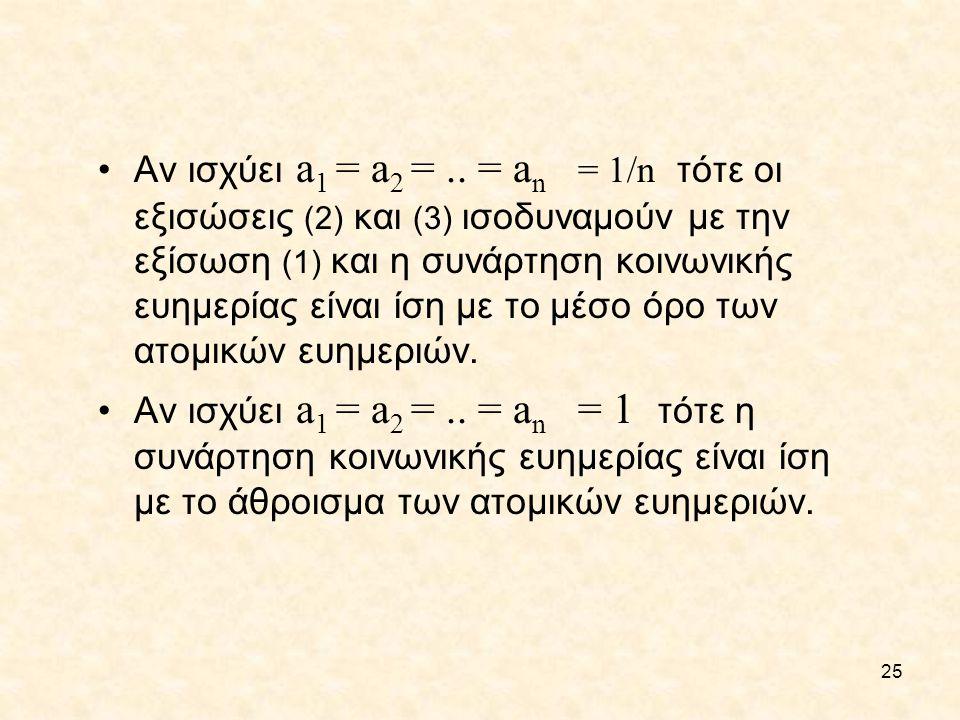 Αν ισχύει a1 = a2 = .. = an = 1/n τότε οι εξισώσεις (2) και (3) ισοδυναμούν με την εξίσωση (1) και η συνάρτηση κοινωνικής ευημερίας είναι ίση με το μέσο όρο των ατομικών ευημεριών.