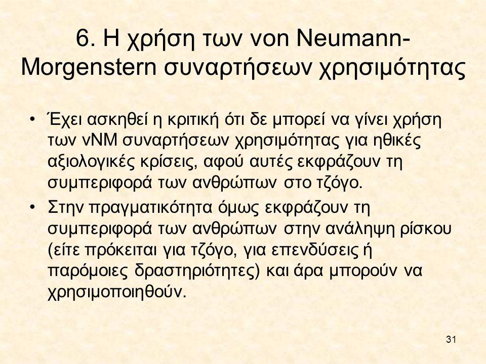 6. Η χρήση των von Neumann-Morgenstern συναρτήσεων χρησιμότητας