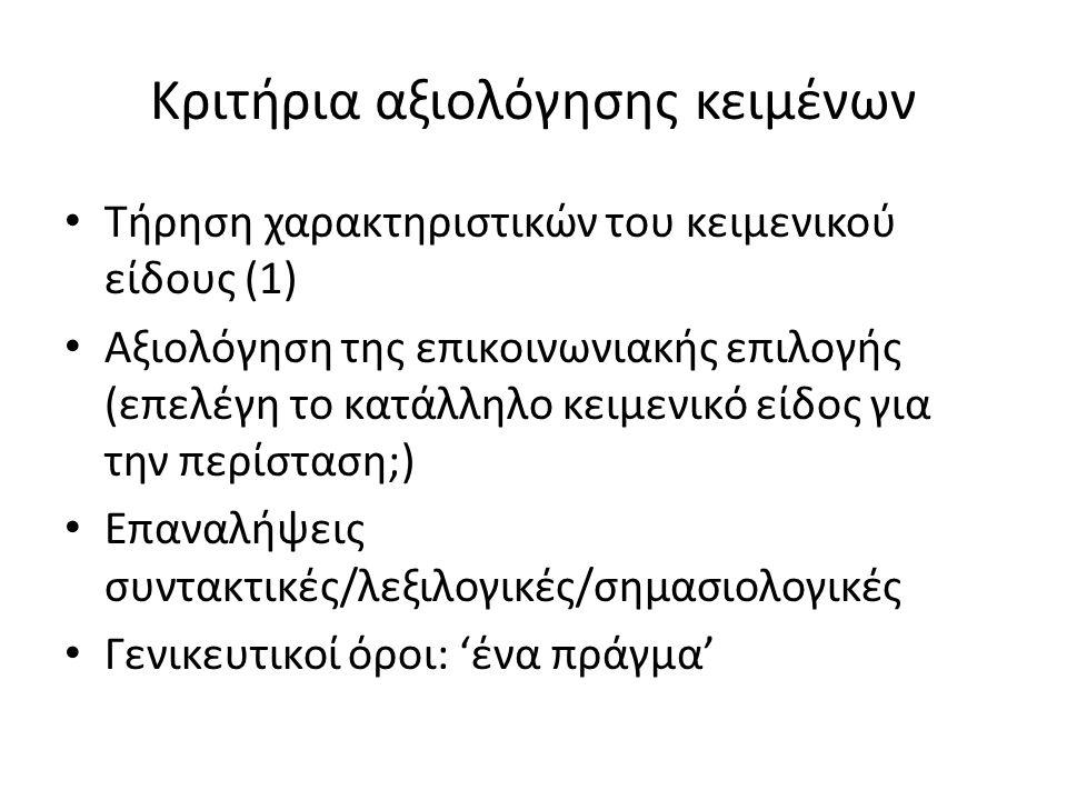 Κριτήρια αξιολόγησης κειμένων