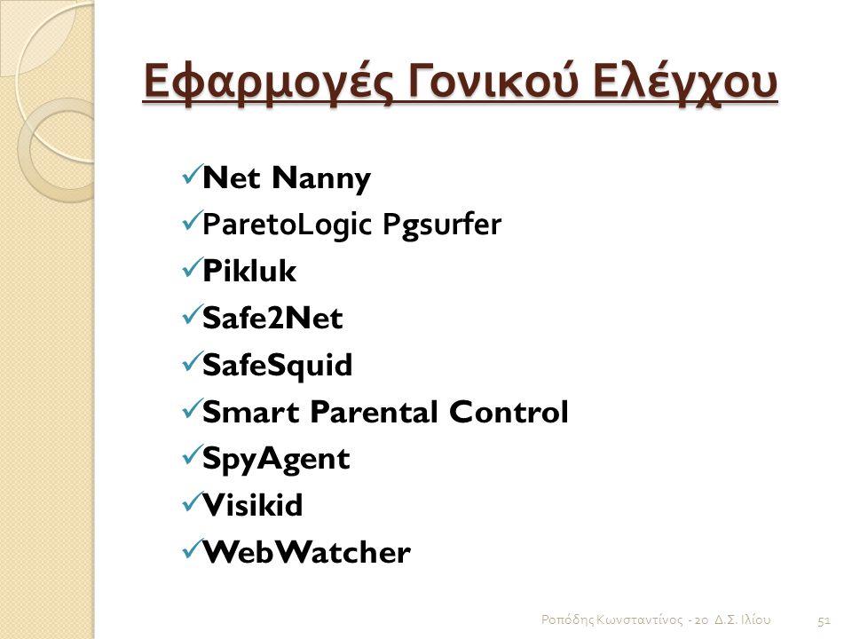 Εφαρμογές Γονικού Ελέγχου
