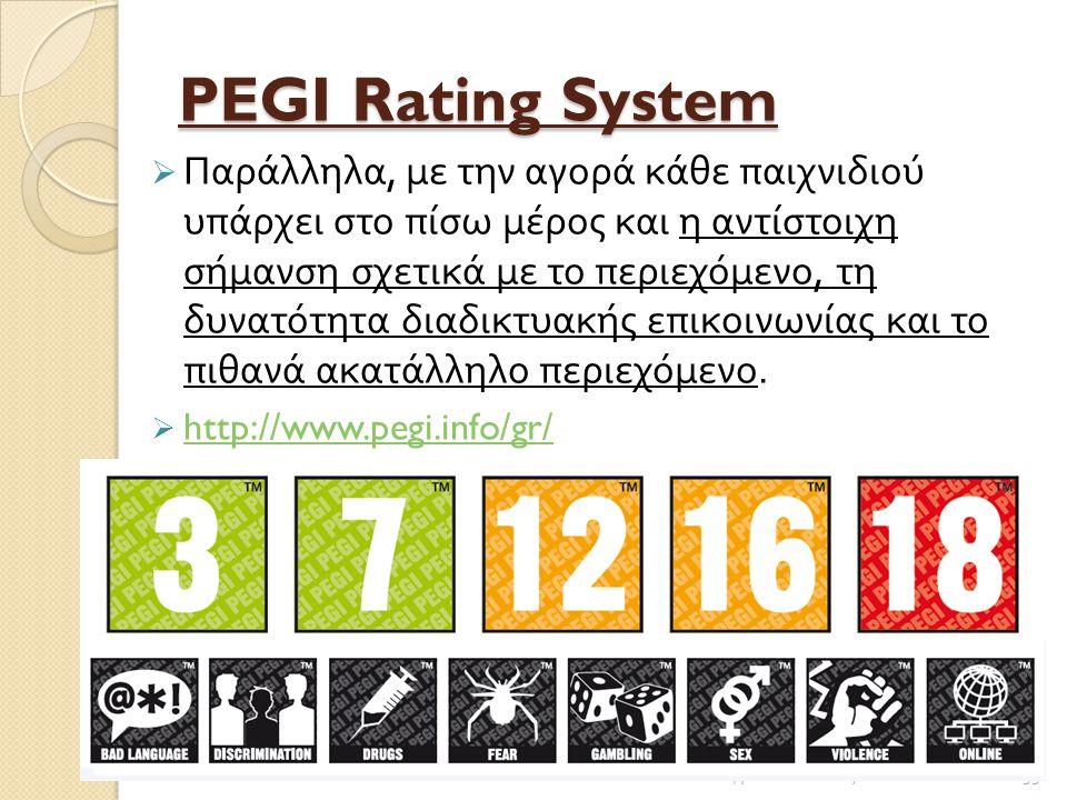 PEGI Rating System