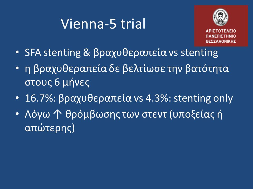 Vienna-5 trial SFA stenting & βραχυθεραπεία vs stenting