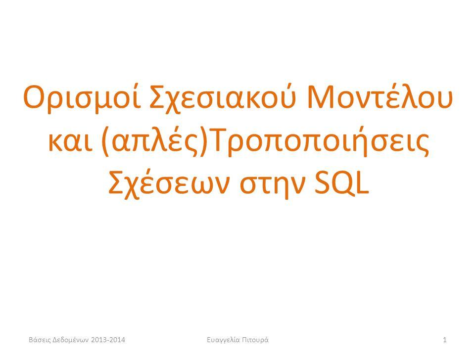 Ορισμοί Σχεσιακού Μοντέλου και (απλές)Τροποποιήσεις Σχέσεων στην SQL