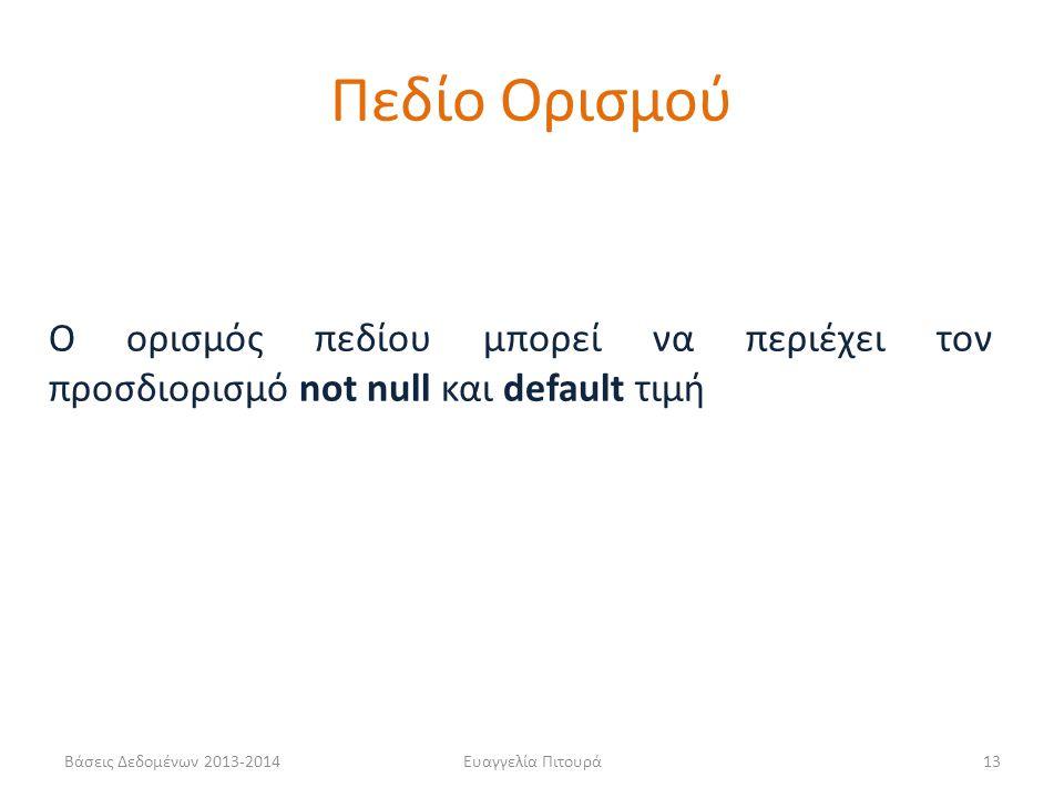 Πεδίο Ορισμού Ο ορισμός πεδίου μπορεί να περιέχει τον προσδιορισμό not null και default τιμή. Βάσεις Δεδομένων 2013-2014.